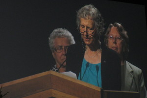 Sisters Denece Billesberger, Marie Zarowny and Donna Geernaert presenting the Statement on behalf of women religious _1