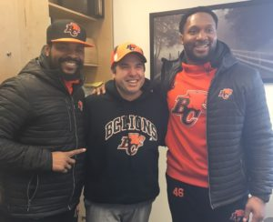 Jeremiah Johnson (L) and Rolly Lumbala (R) with St. Andrew's principal, Andrew Keleher.