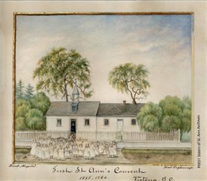 The first St. Ann's Convent and school in Victoria painted by Sister Mary Sophie c.1870